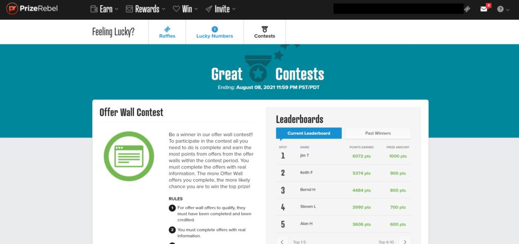 prizerebel review offer wall contests