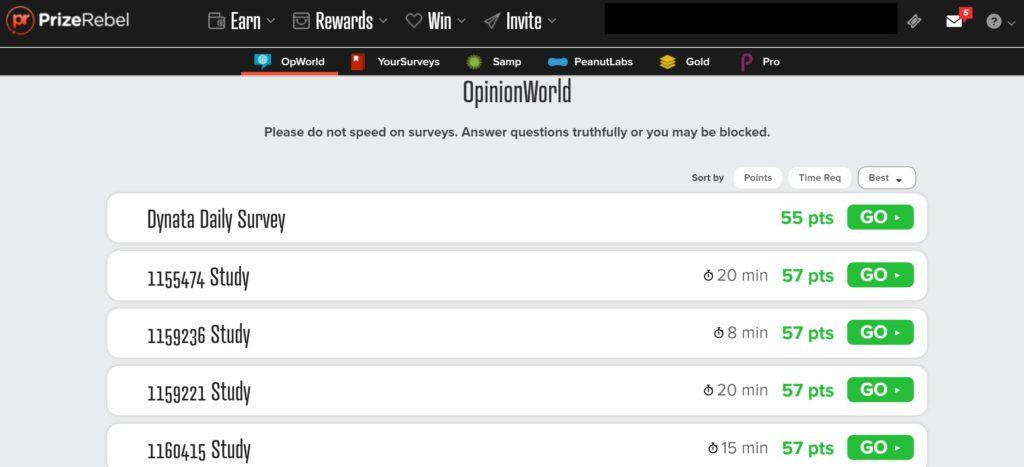 prizerebel review survey screen